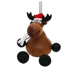 Dekohelden24 Hängefigur Holz Figur Weihnachtselch mit Sprungfeder, (1-tlg)