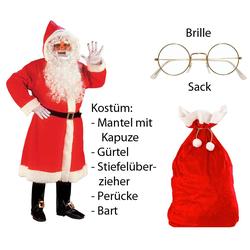 Scherzwelt Weihnachtsmann Luxus Weihnachtmann Mantel mit Perücke, Bart, ...M/L - Set mit Sack + Brille, Weihnachtsmannkostüm, Weihnachtskostüm, Weihnachtsmann