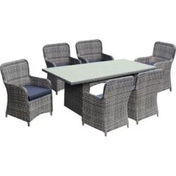 7tlg. Tischgruppe Gartenmöbel Gartentisch Stuhl Garten Sessel Gartensessel Tisch