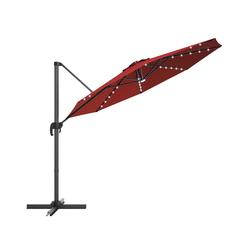 COSTWAY Ampelschirm LED Sonnenschirm, Gartenschirm, Kurbelschirm, Ø300 cm, mit Kreuzständer, für Garten, Terrasse, Pool oder Veranda rot
