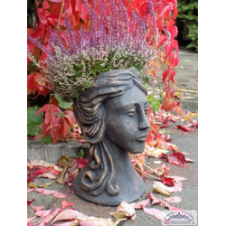 BAD-10361 Frauen Büste bepflanzbarer Gartendeko Frauenkopf Blumentopf Betonskulptur Art Design 36cm 12kg (Farbe: ocker)