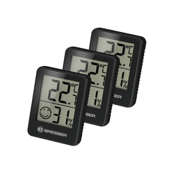 BRESSER Thermometer Temeo Hygro 3er Set Thermometer Hygrometer schwarz