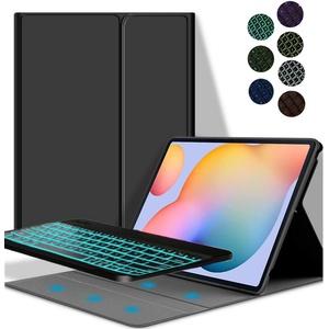 YGoal Tastatur Hülle für Galaxy Tab S6, Deutsches QWERTZ Layout Ultra-Dünn Hülle mit 7 Farben Hintergrundbeleuchtung Abnehmbarer Tastatur für Samsung Galaxy Tab S6 10.5 T860/T865, Schwarz