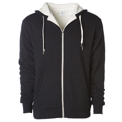 Unisex Sherpa Lined Zip Hooded Jacket | Independent Black/Natural S