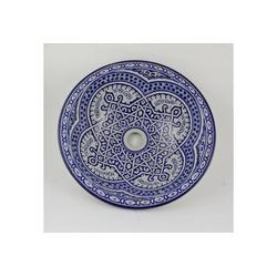 Casa Moro Waschbecken Marokkanisches Keramik-Waschbecken Fes62 Ø 35 cm handbemalt, Marokkanisches Handwaschbecken für Küche Badezimmer Gäste-Bad, Einfach schöner Wohnen, WB35262, Handmade