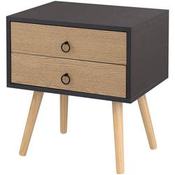 Woltu Nachttisch, Nachttisch mit 2 Schubladen, Beine aus Massivholz grau