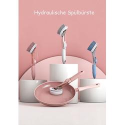 JI-ROC Multitool Reinigungsbürste/Spülbürste mit Spülmittelspender, (set, 1 * Griff 2 * Nylonbürstenkopf 2 * Schwammbürste), Der Spülmittelspender spendet auf Knopfdruck Spülmittel rosa