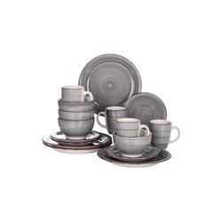 vancasso Tafelservice Bella (16-tlg), Steingut, 16 teilig Geschirrset aus Steingut grau