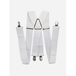 axy Hosenträger HB35 Herren Hosenträger 4 Stabile Clips X-Form 3,5cm Breit verstellbar und elastisch 120cm Lang weiß