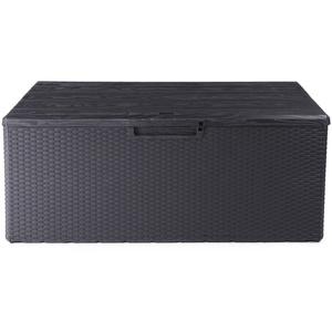 Ondis24 Kissenbox Fino Sitztruhe 340L Auflagenbox Gartenbox abschließbar Gartentruhe (anthrazit)