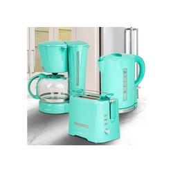 ONVAYA Frühstücks-Set Frühstücksset 3-teilig, Kaffeemaschine Toaster Wasserkocher Set, Frühstücksserie 3 in 1, Filterkaffeemaschine für 12 Tassen, Toaster für 2 Scheiben, Wasserkocher 1,7 Liter grün