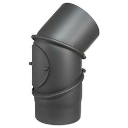 Abgasbogen einstellbar 0 bis 90° - Ø 150 mm für Kaminofen - gussgrau, mit Tür - 80345040