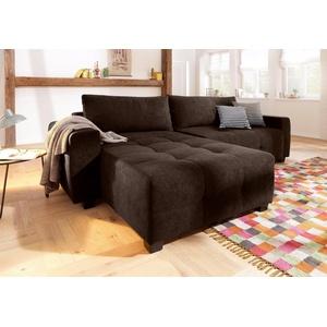 Home affaire Ecksofa Bella, wahlweise mit Bettfunktion und Bettkasten, Steppung im Sitzbereich braun