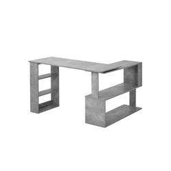 Flieks Schreibtisch, Eckschreibtisch Computertisch Bürotisch Gaming Tisch, 360-Grad-Drehung, offene Regale zur Aufbewahrung grau