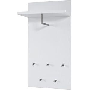 Haku-Möbel Wandgarderobe 42358, Holz, mit Kleiderstange und 5 Haken, weiß