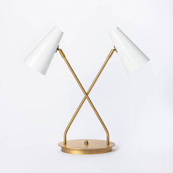 Dual Head Metal Desk Lamp (Includes LED Light Bulb) Brass - Threshold designed with Studio McGee