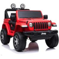 "ES-Toys Kinderfahrzeug - Elektro Auto ""Jeep Wrangler Rubicon"" - lizenziert - 12V10AH Akku + 4 Motoren + 2,4Ghz+Ledersitz+EVA -Rot"