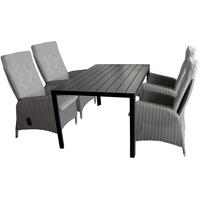 Multistore 2002 Gartengarnitur Aluminium Polywood Tischplatte schwarz 150x90cm + 4x Polyrattan