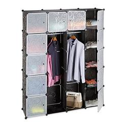 relaxdays Kleiderschrank transparent / schwarz 14 Fachböden