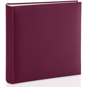 Hama Fotoalbum mit Stoffeinband 30x30 cm (Jumbo Fotobuch mit 100 weißen Seiten, Photoalbum mit Pergamin-Trennblättern, Album zum Selbstgestalten und Einkleben) weinrot