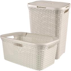 CURVER Wäschebox STYLE Wäschebox+Wäschekorb, 2´er-Set natur