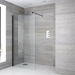 Walk-in Dusche, Größe von Duschwand und Ablauf wählbar, Schwarz - Nox, von Hudson Reed