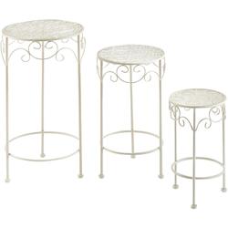 Home affaire Blumenständer, rund aus Metall, cream (3er Set)