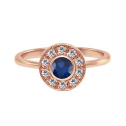 Verlobungsring mit Diamanten im Halo-Stil mit blauen Saphir Becke