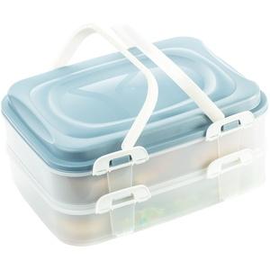 Party Container Kuchenbehälter Lebensmittel Transportbox XL mit 2 Etagen und klappbaren Griffen, Farbe:Blau