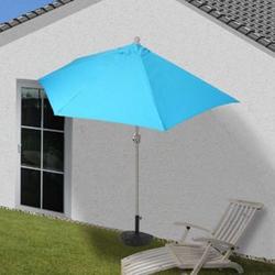 Sonnenschirm halbrund Lorca, Halbschirm Balkonschirm, UV 50+ Polyester/Alu 3kg ~ 300cm türkis mit Ständer