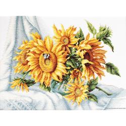 "Luca-S Kreuzstich Set ""Sonnenblumen"", Zählmuster, 33,5x25,5cm"