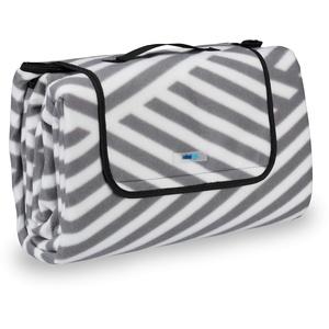 Relaxdays Picknickdecke XXL, 200 x 200 cm, wärmeisoliert, Faltbare Stranddecke, wasserdicht, mit Tragegriff, grau-weiß