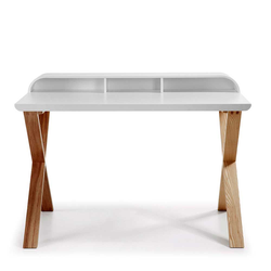 Schreibtisch Sekretär in Weiß Esche 120 cm