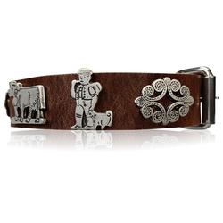 FRONHOFER Hunde-Halsband 18614, Ökoleder, Trachten Hundehalsband 3 cm Naturleder Appenzeller Zierteile braun 50 cm - 57 cm