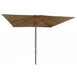 Pure Home & Garden ODUN Holz Sonnenschirm 300x300cm Gartenschirm mit Seilzug taupe