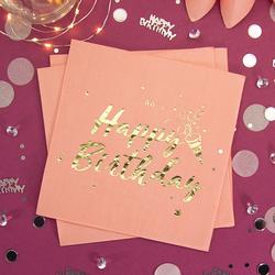 Happy Birthday Geburtstag Party Deko Set - Servietten + Konfetti rosa gold roségold