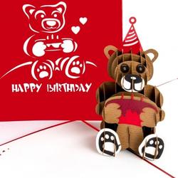 Colognecards Pop-Up Karte Happy Birth. Teddybär rot