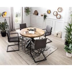 SIT Esstisch Tops&Tables, mit rustikaler runder Tischplatte aus Mangoholz