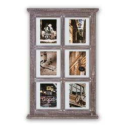matches21 HOME & HOBBY Bilderrahmen Galerierahmen Fenster Sprossenfenster Vintage Style 6 Fotos, (1 Stück), Vintage braun