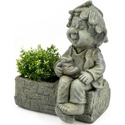 NOOR LIVING Gartenfigur Pflanztopf mit Gnom, (1 St.) grau Gartenfiguren Gartendekoration Gartenmöbel Gartendeko