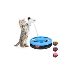 relaxdays Tier-Kugelbahn Katzenspielzeug mit Maus, Kunststoff blau