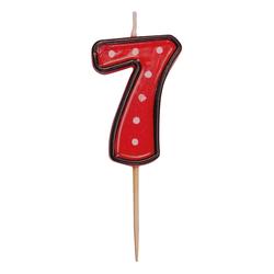 Zahlenkerze, Geburtstagskerze `7` rot, ca. 85 mm