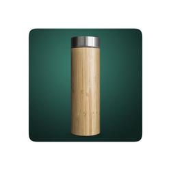 PRECORN Thermobecher Bambus Thermobecher Tee-to-go-Flasche Teeflasche 450ml doppelwandig Edelstahl Sieb & Deckel, Bambus