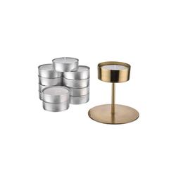 BUTLERS Kerzenhalter HIGHLIGHT Kerzenhalter & Maxi Teelicht-Set goldfarben