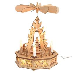 matches21 HOME & HOBBY Weihnachtspyramide Weihnachtspyramide & LED Kerzen Tannenbaum & Wald Tischdeko
