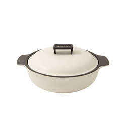 WALD Kochtopf Keramik-Kochtopf groß flach, weiß