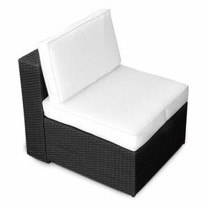 (1er) Polyrattan Lounge Möbel Mittel Sessel schwarz - Gartenmöbel Polyrattan Lounge Mittel Sessel, Lounge Mittel Sofa, Lounge Mittel Stuhl - durch andere Polyrattan Lounge Gartenmöbel erweiterbar