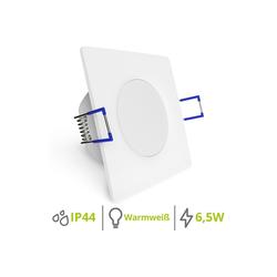linovum LED Einbaustrahler WEEVO extra flache LED Einbaustrahler eckig weiß 2700K 6,5W 230V Bad & Außen IP44