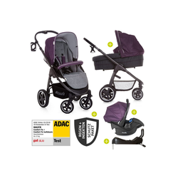Hauck Kombi-Kinderwagen Soul Plus Quattro-Set - Berry, (11-tlg), 4in1 Kinderwagen-Set Soul Plus Trio Set inkl. Isofix Basis und XXL Zubehörpaket