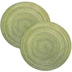 Haus und Deko 2er Set Platzset abwischbar rund ca. 40 cm Tischset Untersetzer meliert #2228 (grün)